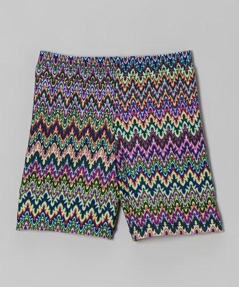 Fit 2 Win Sportswear Blue Fractal Stripe Miami Shorts - Girls