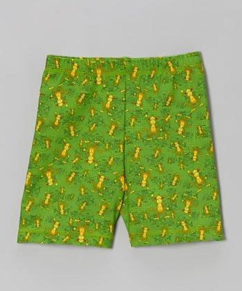 Fit 2 Win Sportswear Green Monkey Miami Shorts - Girls