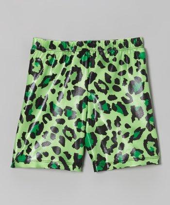 Fit 2 Win Sportswear Green Leopard Miami Shorts - Girls