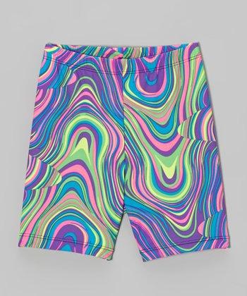 Fit 2 Win Sportswear Purple Neon Wave Miami Shorts - Girls