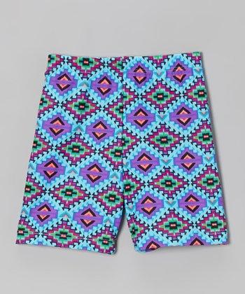 Fit 2 Win Sportswear Turquoise Geometric Miami Shorts - Girls