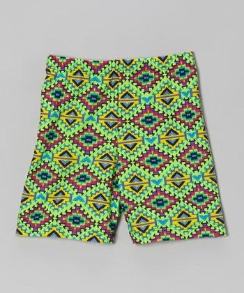 Fit 2 Win Sportswear Neon Green Geometric Miami Shorts - Girls