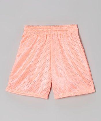Fit 2 Win Sportswear Neon Coral Mesh Rockville Shorts - Girls