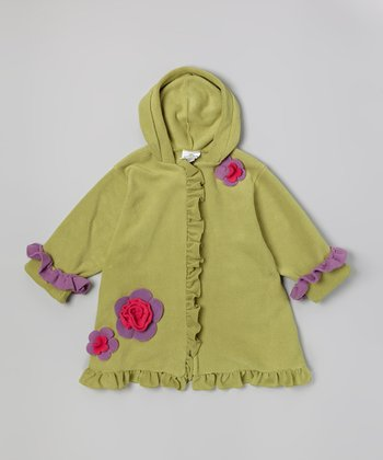 Pistachio Fleece Hooded Swing Coat - Toddler & Girls