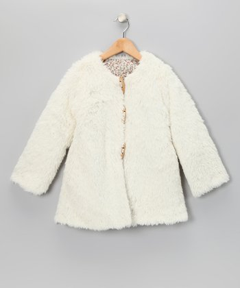 White Reversible Coat - Girls