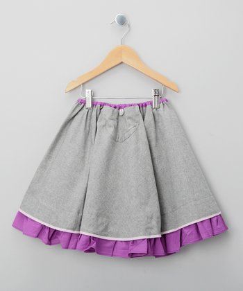 Gray & Purple Sevillana Skirt - Toddler & Girls
