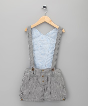 Blue Stripe Lolita Suspender Shorts - Toddler & Girls