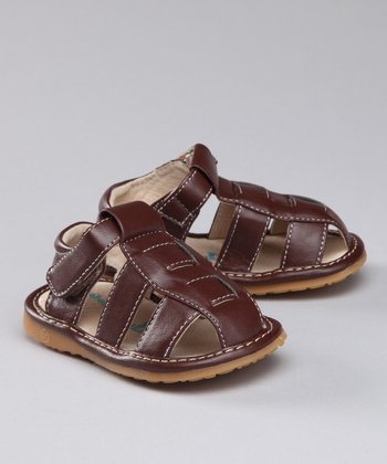 Sneak A' Roos Brown Fisherman Squeaker Closed-Toe Sandal