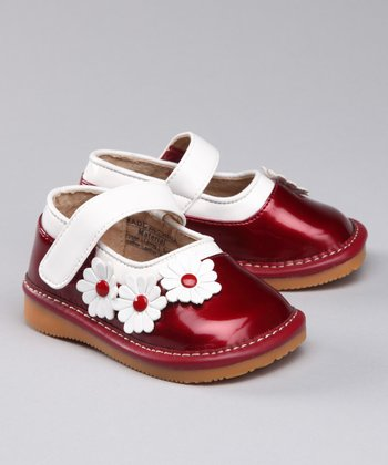 Red Patent Daisies Squeaker Mary Jane