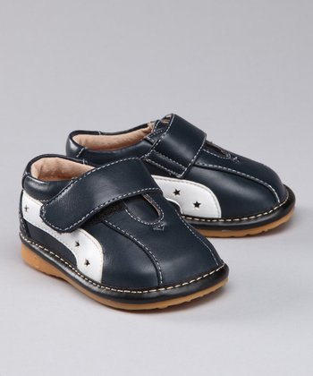 Navy Blue & White Squeaker Shoe