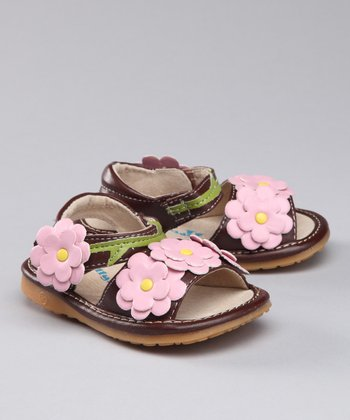 Brown & Pink Flower Squeaker Sandal