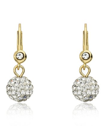 White Crystal & Gold Ball Dangle Lever-Back Earrings