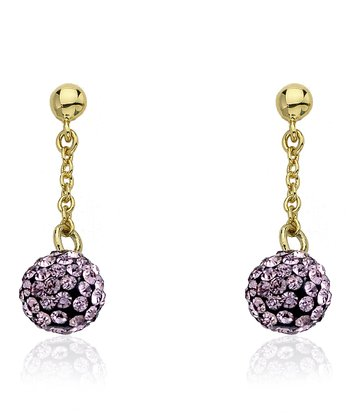 Pink Crystal & Gold Ball Dangle Earrings