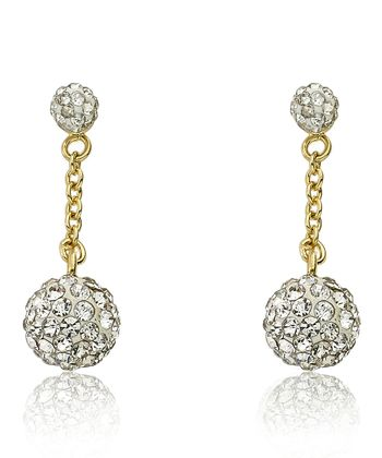 White Crystal & Gold Ball Dangle Earrings