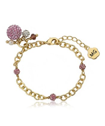 Pink Crystal & Gold Ball Bracelet
