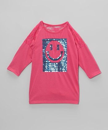 Pink & Blue Sequin Smiley Face Tee - Toddler & Girls