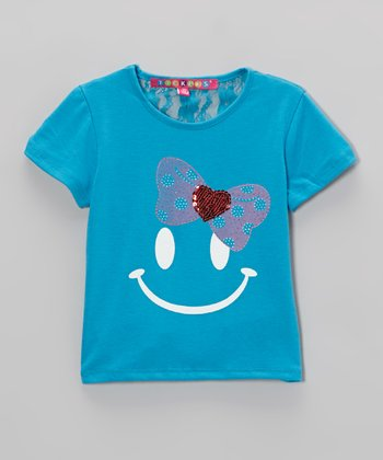 Blue & Red Bow Smiley Face Tee - Toddler