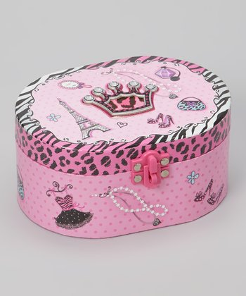 Black & Pink Crown Musical Jewelry Box