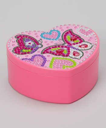 Pink Butterfly Heart Jewelry Box