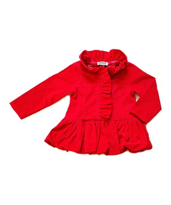 Raspberry Ruffle Corduroy Holiday Jacket - Toddler & Girls