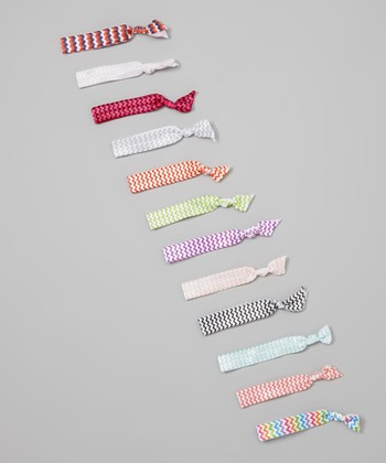 Red & White Zigzag Hair Tie Set