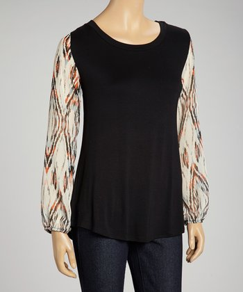 Black Tribal Scoop Neck Top