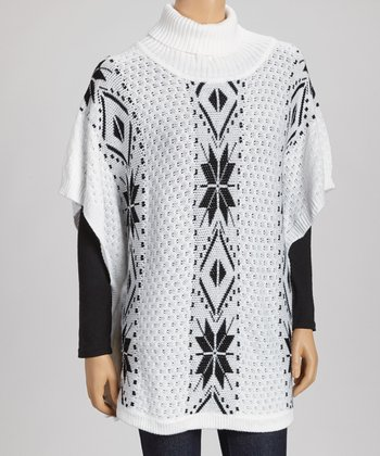 White & Black Tribal Poncho