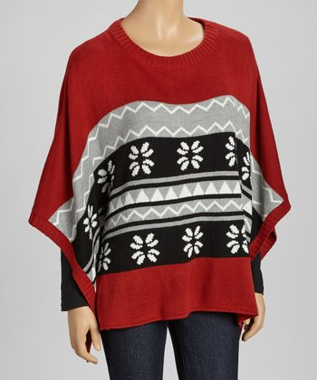 Rust & Gray Tribal Cape-Sleeve Sweater Tunic