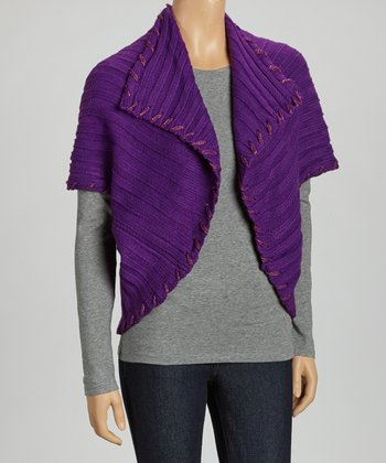 Purple Ribbed Shrug