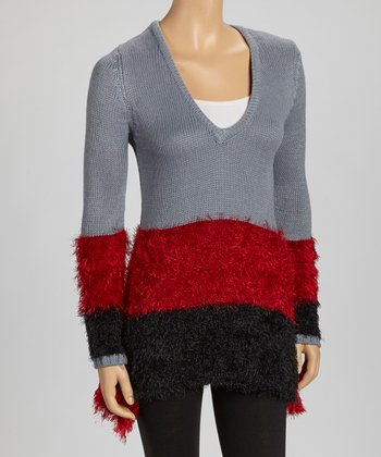 Gray & Red Color Block V-Neck Fuzzy Sweater Tunic
