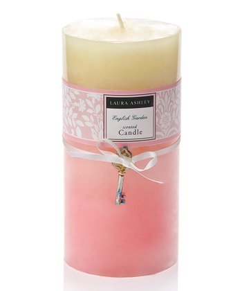 Tall Pink Ombré Sculpted Pillar Candle