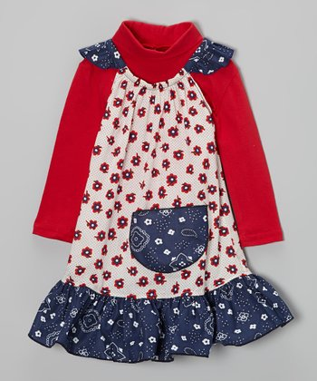 Red Turtleneck & Blue Bandanna Dress - Infant, Toddler & Girls