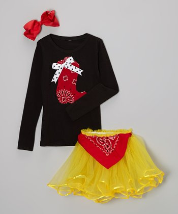 Black Bandanna Boot Tee & Yellow Tutu - Infant, Toddler & Girls