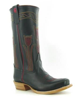 Black & Red Ok39 Cowboy Boot