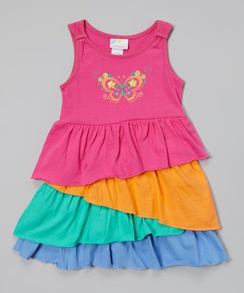 Pink Butterfly Ruffle Dress - Infant, Toddler & Girls