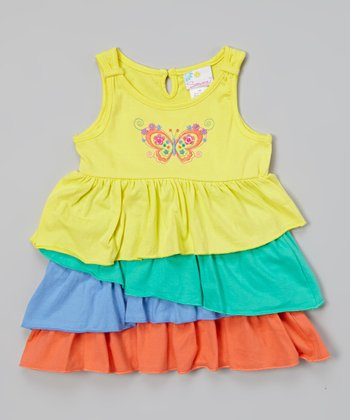 Yellow Butterfly Ruffle Dress - Infant & Toddler