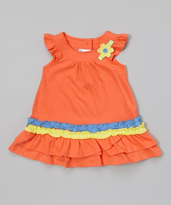 Coral Ruffle Angel-Sleeve Dress - Infant & Toddler