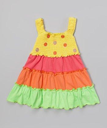 Pink & Yellow Flower Tier Dress - Toddler