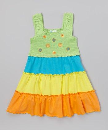Green & Blue Flower Tier Dress - Infant & Toddler