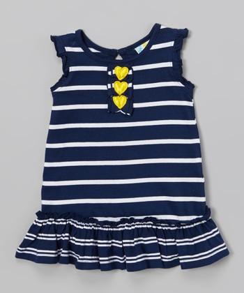 Navy Stripe Ruffle Dress - Infant, Toddler & Girls