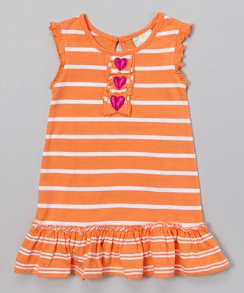 Coral Stripe Ruffle Dress - Infant, Toddler & Girls