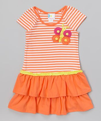 Coral Stripe Butterfly Ruffle Dress - Infant, Toddler & Girls