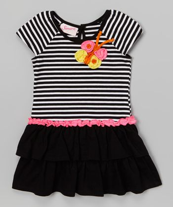 Black Stripe Butterfly Ruffle Dress - Infant & Toddler