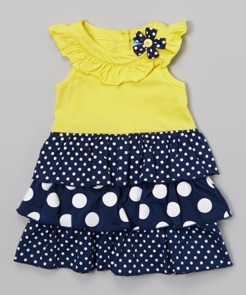 Yellow & Navy Polka Dot Ruffle Dress - Infant & Girls