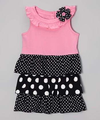 Pink & Black Polka Dot Ruffle Dress - Infant, Toddler & Girls