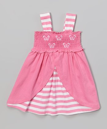 Pink & White Butterfly Ruffle Dress - Infant & Toddler
