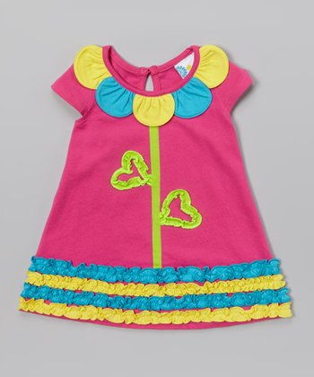 Pink Flower Neckline Ruffle Dress - Infant & Toddler