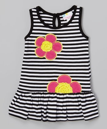 Black Stripe & Flower Dress - Infant & Toddler