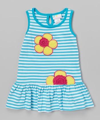 Blue Stripe & Flower Dress - Infant & Toddler