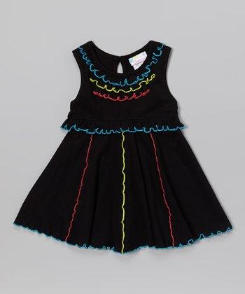 Black Neon Ruffle Dress - Infant, Toddler & Girls